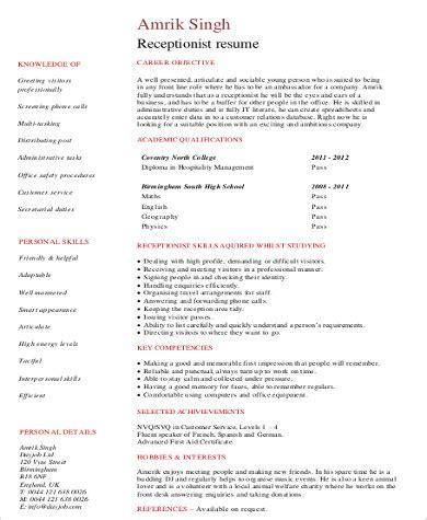 8 receptionist resume sles sle templates