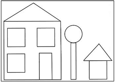 preschool house shape template pinteres