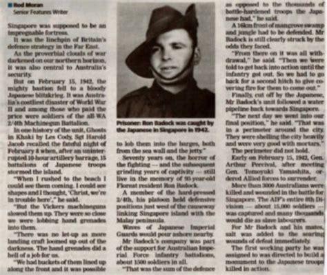 Ron BADOCK - Singapore Survivor 70 Years Later - 2/4th ...
