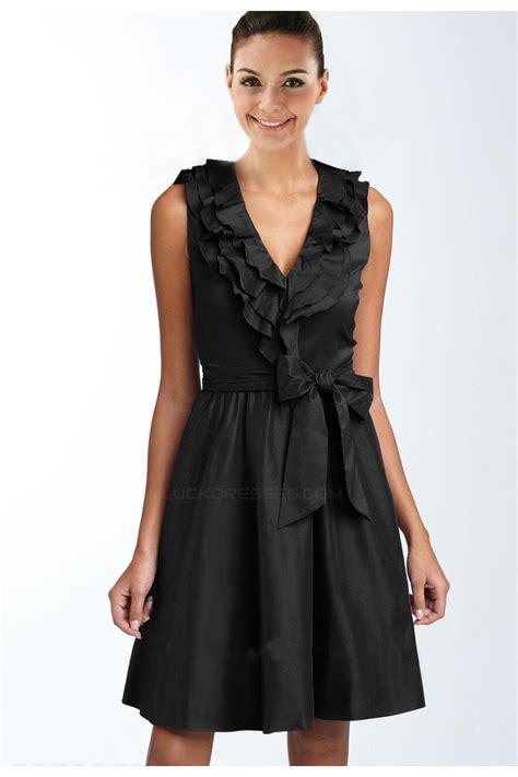 A-Line V-Neck Short Black Bridesmaid Dresses/Wedding Party ...