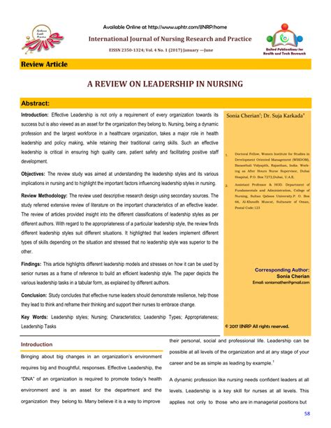review  leadership  nursing