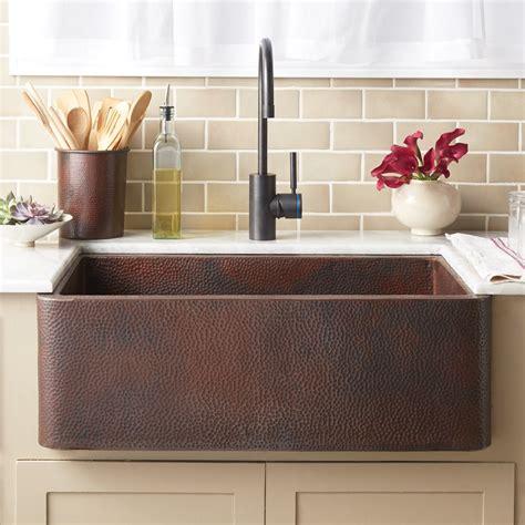 farmhouse 30 copper apron front sink trails