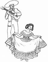 Mexican Coloring Pages Dancing Lady Drawing Wearing Traditional Dance Fiesta Printable Spanish Dresses Sheets Boy Cinco Mayo Colors Books sketch template