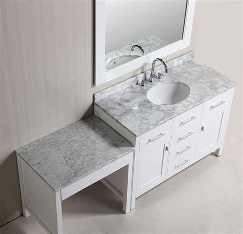 bathroom sink with makeup vanity 48 quot london single sink vanity set in white finish with
