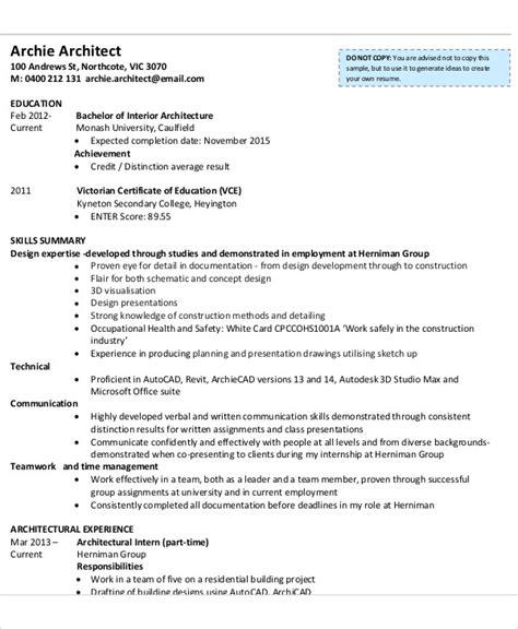 Internship Cv Template by Curriculum Vitae For Internship