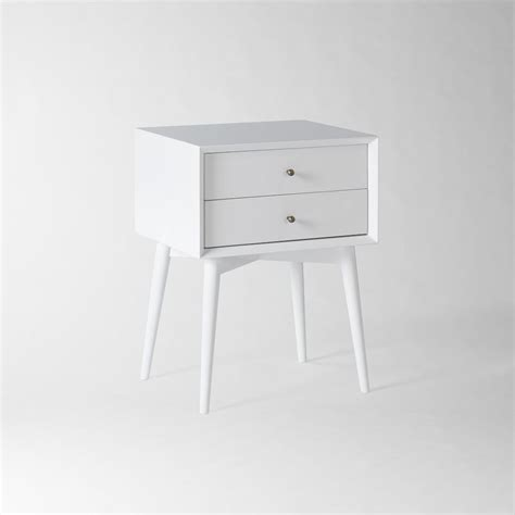 Mid Century Bedside Table   White