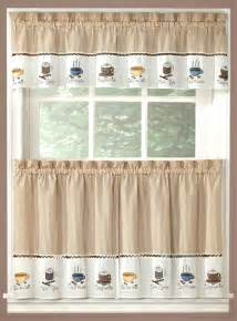 coffee curtains valance tiers cappuccino kitchen coffee decor