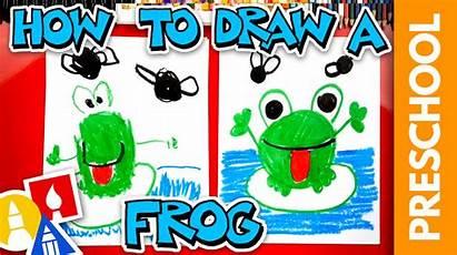 Frog Drawing Shapes Preschool Flies Draw Artforkidshub