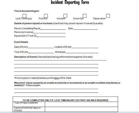 employee incident report form  project management