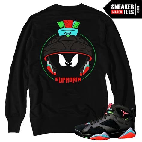 Marvin the Martian 7s matching sneaker tees shirts |Cold Stare Crewneck Black| Streetwear Online