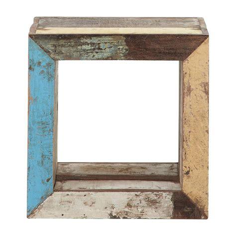 canapé bout de lit bout de canapé cube en bois recyclé multicolore l 40 cm