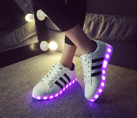 light up adidas superstars 2015 glowing sneakers with lights up led luminous shoes a