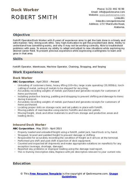 Sle Worker Resume by Dock Worker Resume Sles Qwikresume