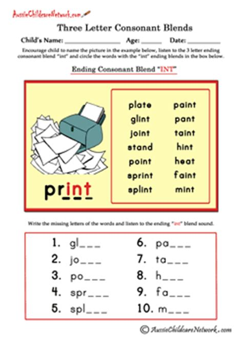 three letter blends ending consonant blends aussie