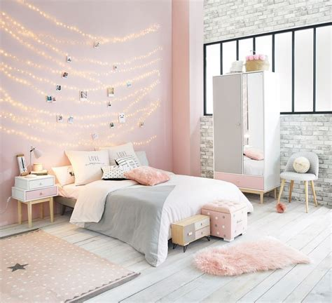 pink white  grey girls bedroom maisons du monde home style pink bedroom decor room decor cozy teen bedroom