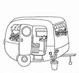 Trailer Colouring Pages Caravan Camping Camper Campers Line Caravans Travel Drawings Adults Trailers Forward sketch template