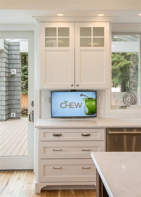 How To Hide Your Tv  Kitchen Cabinets  Pinterest