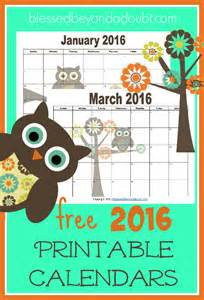 2016 Monthly Calendar Printable Free Owls