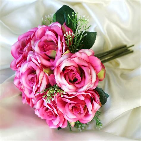 silk roses artificial bouquets wedding flowers