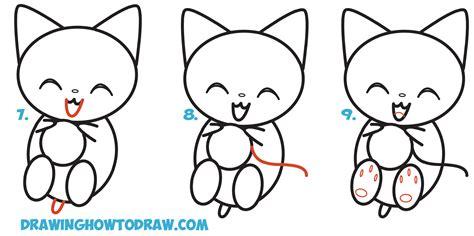 draw cute kawaii kitten cat playing  yarn