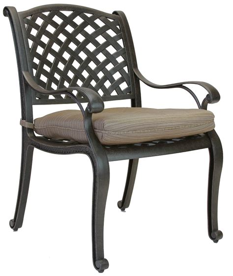 nassau cast aluminum outdoor patio dining chair with seat