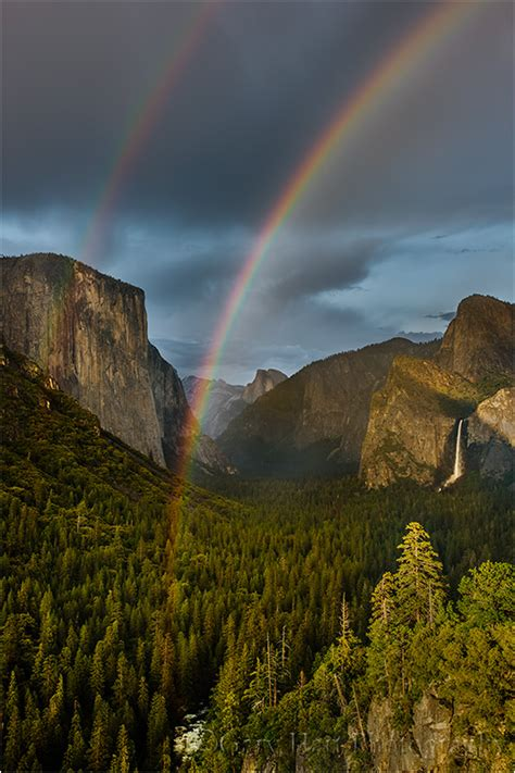 double rainbow yosemite valley landscape rural