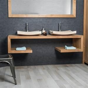 Meuble double vasque bois for Salle de bain design avec meuble sous vasque bois castorama