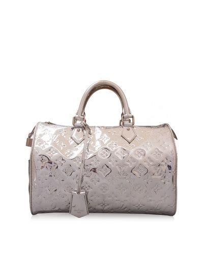 pre owned louis vuitton silver monogram miroir speedy