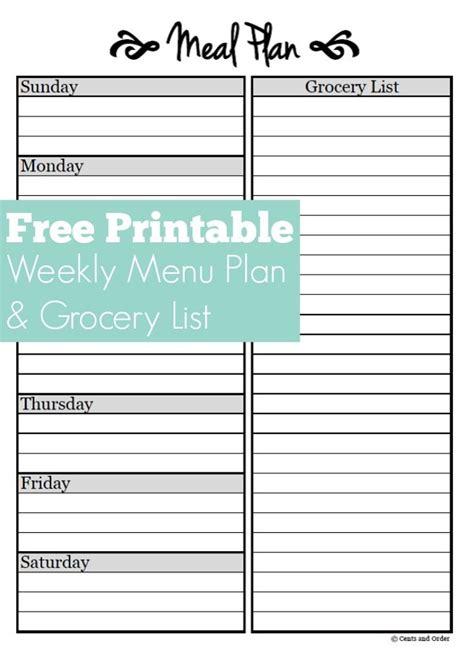 meal planning  weekly menu planner printable