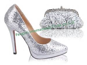 wedding reception shoes shining glitter silver wedding shoes and matching bags in pumps from shoes on aliexpress