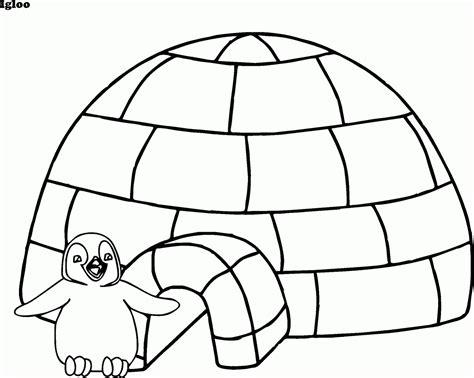 gambar mewarnai rumah salju igloo penguin