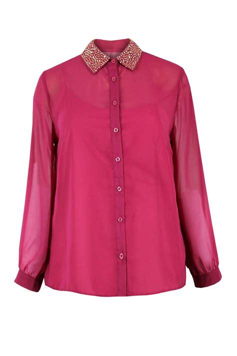 plus size chiffon blouse womens plus size studded collar chiffon sleeve