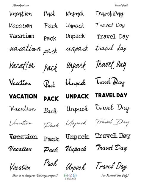vacation sticker bundle  bullet journal  planner