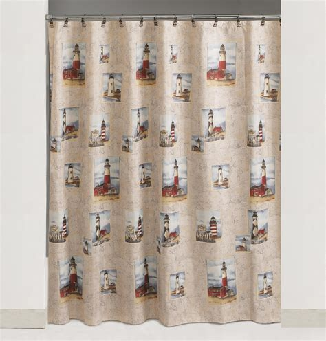 lighthouse shower curtain essential home point bay lighthouse wastebasket home