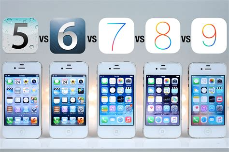iphone 4s vs iphone 5 ios 5 vs ios 6 vs ios 7 vs ios 8 vs ios 9 on iphone 4s