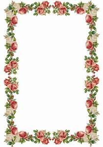 Free digital vintage rose frame and border png with ...