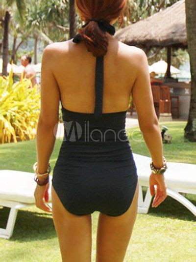 v neck solid color halter cut out womens one swimsuit milanoo