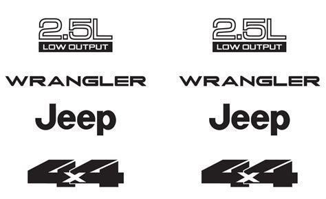 jeep wrangler logo decal jeep wrangler 2 5l 2 5 l 4x4 refresh vinyl decal set