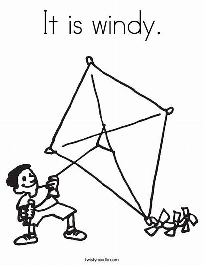 Coloring Kite Windy Wind Pages Printable Blows