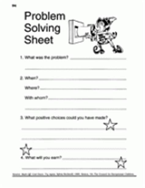 problem solving sheet behavior management printable