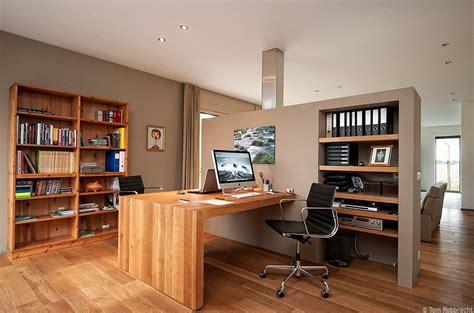 cozy working room with a set of wooden cool workspaces
