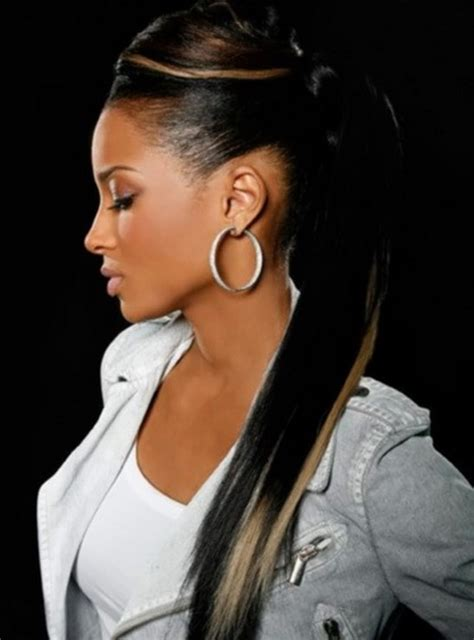 Ponytail Hairstyles For Black Hair by Black Hair With Highlights For Ponytail Hairstyles