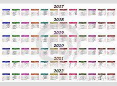 Six Year Calendar 2017, 2018, 2019, 2020, 2021 And 2022