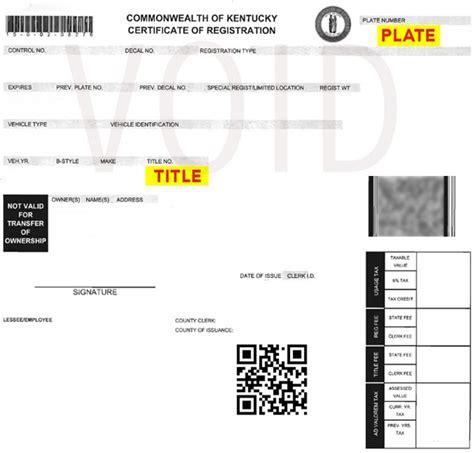 Kentucky Motor Vehicle Registration