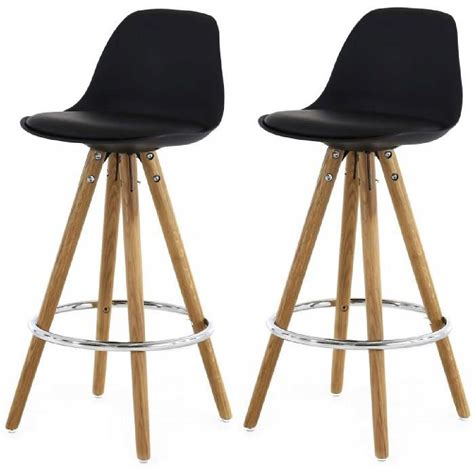 chaise de bar cdiscount lot de 2 tabourets de bar scandinaves noir uma achat