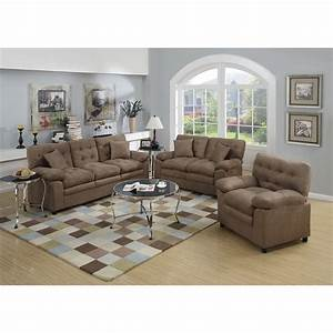 Poundex bobkona colona 3 piece living room set reviews for Set of living room chairs