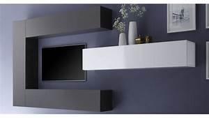 Meuble Sous Tv Suspendu : ensemble meuble tv moderne avec colonnes de rangement manoj gdegdesign ~ Teatrodelosmanantiales.com Idées de Décoration