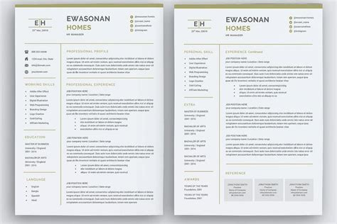 Resume Template 2 Pages by Minimal Resume 3 Pages Cv Template For Word Two Page