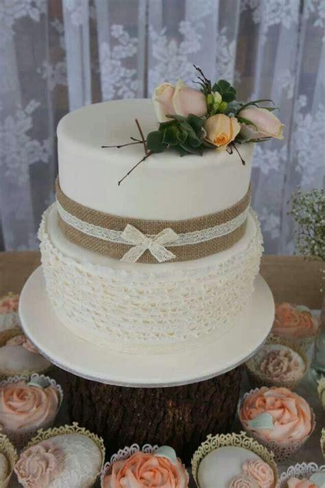 tier rustic bridal shower cake  ruffles layers