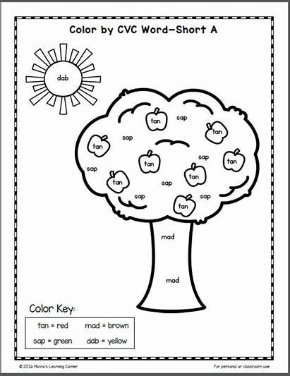 Cvc Worksheets Word Fall Kindergarten Grade Learning